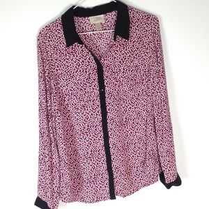 Loft button down blouse long sleeve